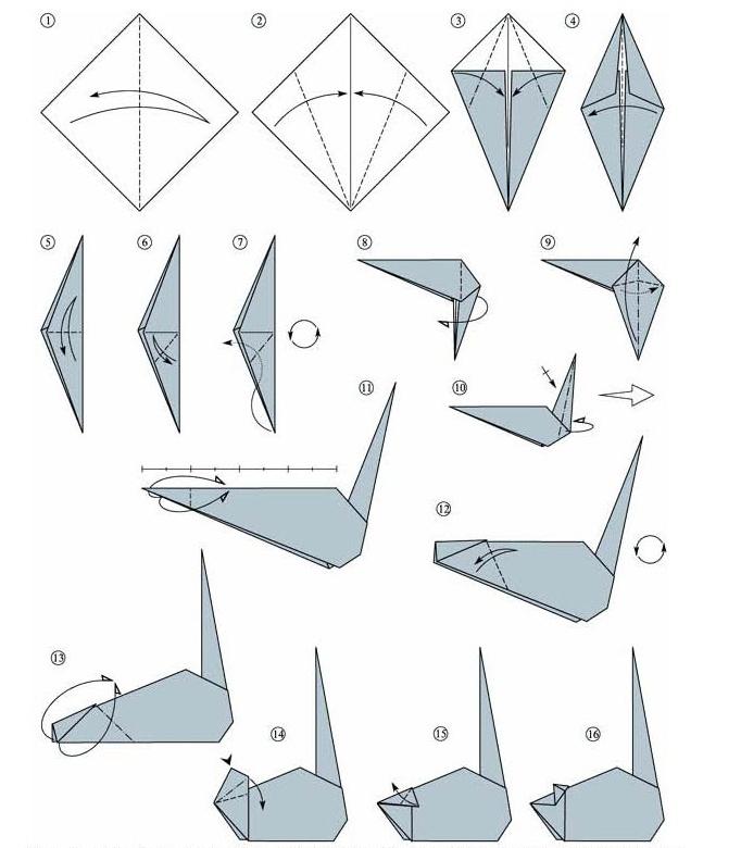 Схема оригами мышь